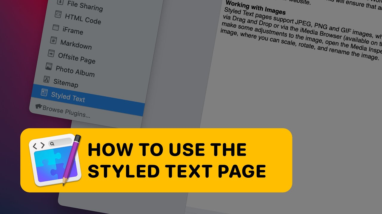 How to use the styled text page in RapidWeaver 8