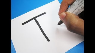 """How To Turn Letter """"T"""" Into A Cartoon TURTLE ! Fun With Alphabets Drawing For Kids"""