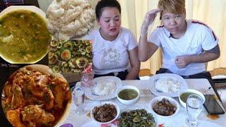 NEPALI MUKBANG EATING SHOW CHICKEN CURRY    LENTIL SOUP    BITTER GUARD RICE 2019