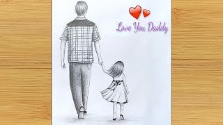 Father's day special drawing || Easy way to draw Father and