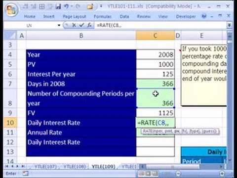 Video YTLE#109: Daily Interest RATE Schedule in Excel