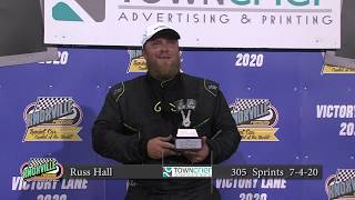 Knoxville Raceway Victory Lane - Russ Hall - July 4, 2020