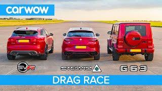 AMG G63 v  F-Pace SVR v Stelvio QV – DRAG RACE, ROLLING RACE & BRAKE TEST