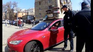 Водитель на Tesla vs Инспектор с маленькой п@п@ськой