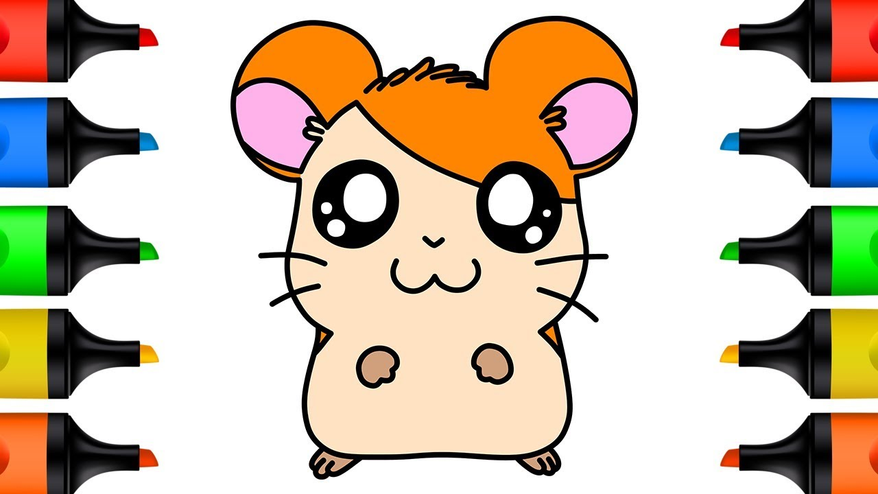 How to Draw HAMTARO for Kids Learn Colors with Drawing and Coloring Pages for Children Step by Step