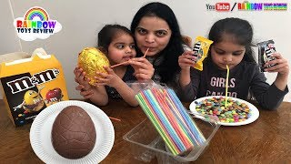 Baby & Mommy Play Fun Game Sucking M&M Candy Challenge for Kids Giant M&M's Chocolate Surprise Egg