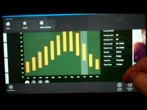 The Weather app review in the Microsoft Windows Surface Tablet