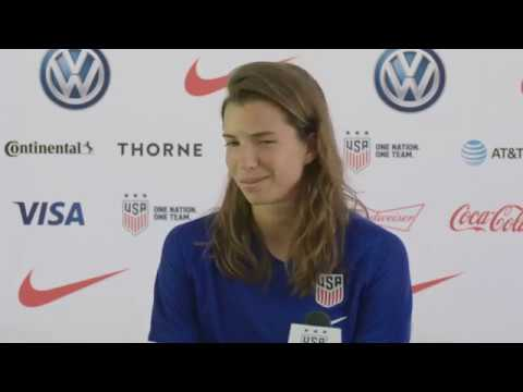 Tobin Heath and Sam Mewis speak to the media about the quarterfinals vs France