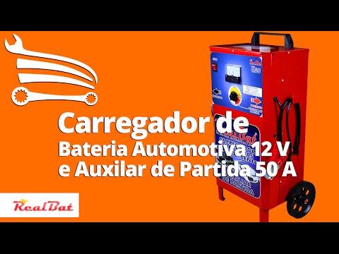 Carregador de Baterias Rápido e Lento + Auxilar de Partida com Carrinho 12V 50A - Video
