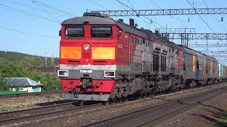 Электровоз ВЛ80С-1374 и тепловоз 2ТЭ10М-0368 с грузовыми поездами