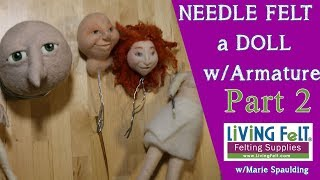 How To Needle Felt Doll Tutorial Part 2: Needle Felting The Faces, Eyes, Etc