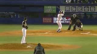 増井浩俊無死1塁で雄平を空振り三振に抑える20140528