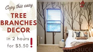 DIY Tree Branches Mural Tutorial Part 1. Cheap And EASY, No Drawing Skills Necessary! | DecorSauce