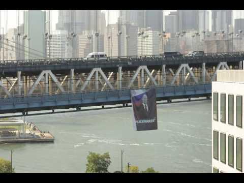 Time-lapse of Putin banner on Manhattan