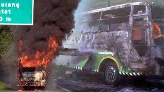 Bus Terbakar di Tol Arah BSD, Sopir Tak Ada saat Petugas Datang