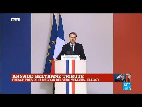 France Shooting: Watch the French president Macron's tribute to slain hero officer Arnaud Beltrame