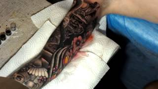 Sleeve tattoos in 24 hours - ТАТУ РУКАВ ЗА 24 ЧАСА. Japan - tattoo time lapse