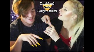 Giving My Boyfriend Acrylic Nails (diy At Home)wow (Must Watch!)