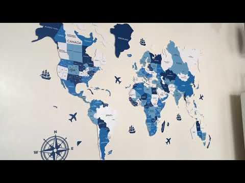 Acrylic Colour World Map 2D - Shades of Blue (Wall Hang Decor)