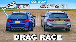 [carwow] BMW M3 Touring vs M340i: DRAG RACE