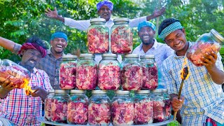 COOKING in GLASS JAR | Canning Meat Recipe Cooking in Village | Simple Delicious RAW Meat Recipe