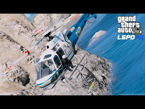 California Highway Patrol Helicopter Rescues Hiker Off Of A Cliff - GTA 5 LSPDFR Coastal Callouts
