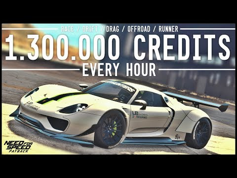 NFS Payback - 1.3 MILLION CREDITS EVERY HOUR!! RACE / DRIFT / DRAG / OFFROAD / RUNNER