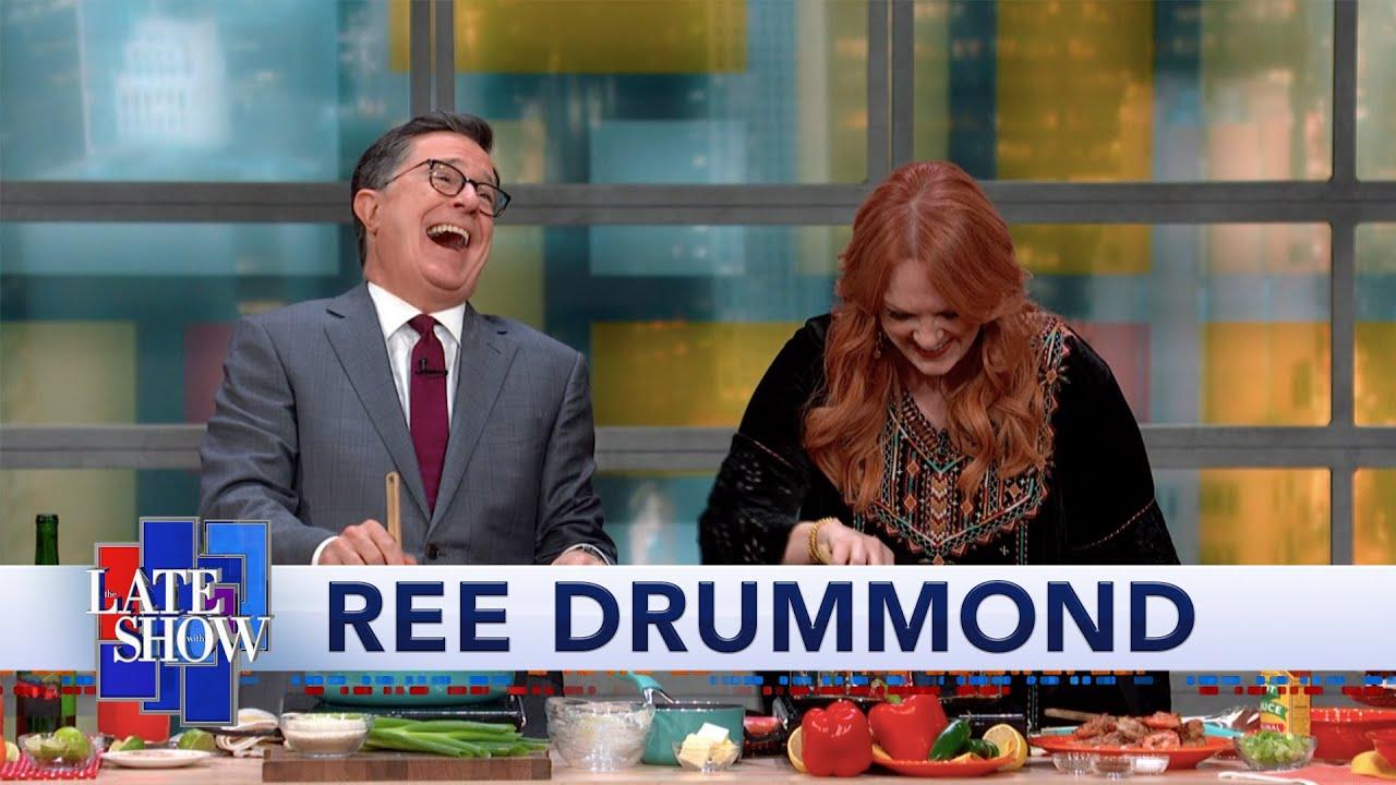 Ree Drummond Cooks Shrimp & Grits For Stephen Colbert thumbnail