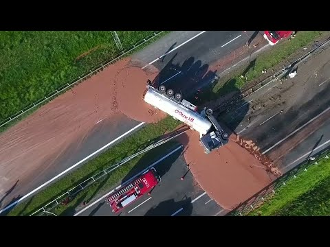 Vorsicht, schmierig: Flüssige Schokolade auf Polens Autobahn