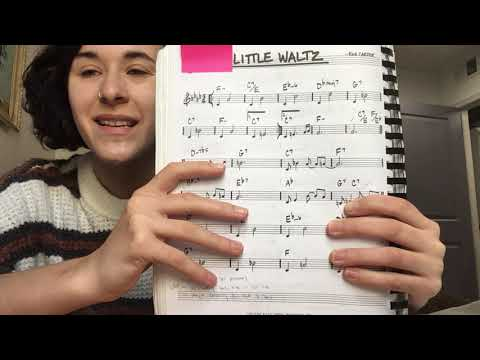 """Izzy providing a short instruction of melody and chords for jazz standard, """"Little Waltz."""""""