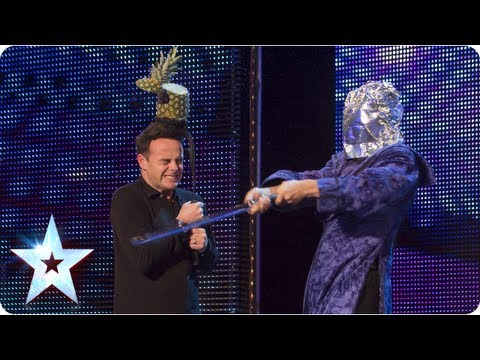Aaron Crow shows off his blindfolded sword skills - Week 3 Auditions | Britain's Got Talent 2013