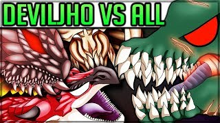 All Deviljho Turf Wars + Special Monster Interactions - Monster Hunter World! (With Pro and Noob)