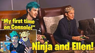 Ninja Laughs Watching His FIRST Time on Console playing Duos With Ellen!