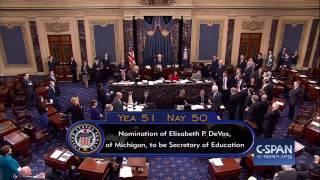 VP Pence breaks 50-50 tie to confirm Betsy DeVos at Secretary of Education (C-SPAN)