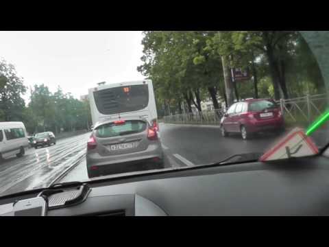 Движение по трамвайным путям , урок с автоинструктором.