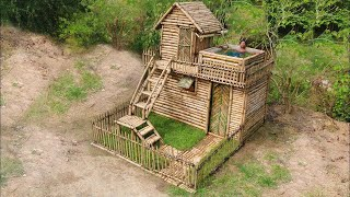 Building Most Beautiful House Villa In the Deep Forest ( Bamboo 100%)