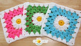 Daisy Granny Square (6.5 Motif) Crochet Pattern & Tutorial
