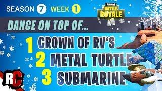 Fortnite   Crown of RV's, Metal Turtle and Submarine Location (Season  7 Week 1 Challenge)