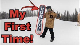 My First Time Snowboarding A Burton Snowboard! - (Season 4, Day 32)