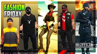 GTA 5 Online FASHION FRIDAY! 20 AMAZING OUTFITS! (Frosty, SS Officer, The Enforcer & MORE)