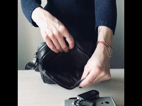 Мужская кожаная сумка через плечо TIDING BAG коричневого цвета Video #1