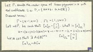 Dec 21, 2015 ... Change of basis  Essence of linear algebra, chapter 9 - Duration: 12:51. n3Blue1Brown 40,581 views. 12:51. Example of Change of Basis...