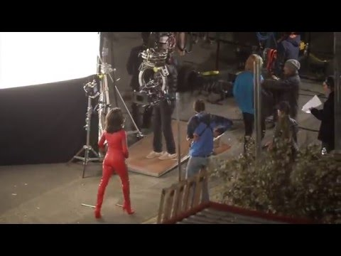 Penelope Cruz in racy red leather catsuit for Zoolander2 shootings