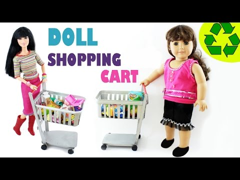 How to make a FUNCTIONAL doll shopping cart - Easy Doll Crafts - simplekidscrafts - simplekidscrafts