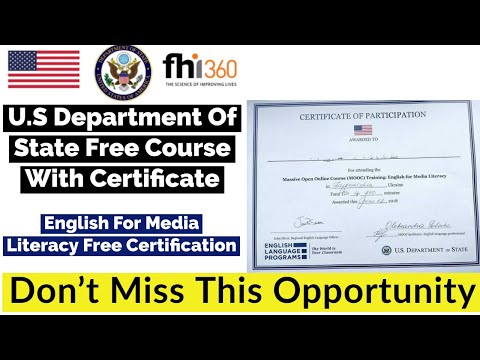 Free Course With Free Certificate By U.S. Department of State ...