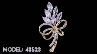 Sparkling White American Diamond Brooch | Violet & Purple