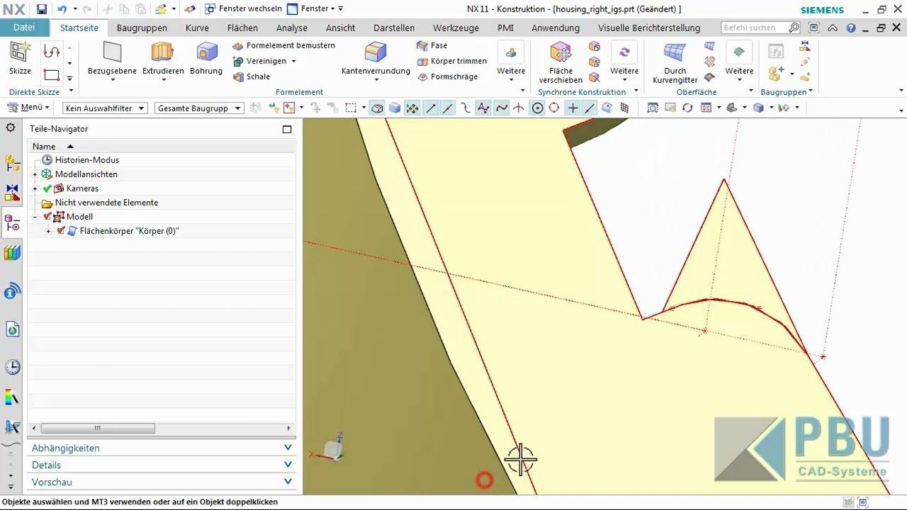 Vorschaubild: NX Tutorial: Flächenmodelle überarbeiten und korrigieren