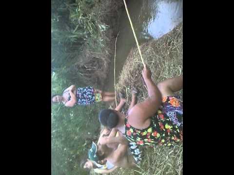 Pescaria com tia Lena no meu terreno em irupi