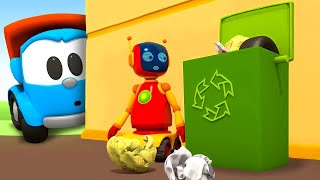 Learn vehicles & Cars for kids - Leo the truck cartoon & Garbage Trucks for kids.
