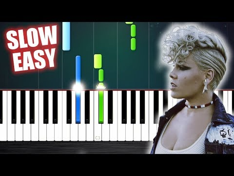 P!nk - What About Us - SLOW EASY Piano Tutorial by PlutaX